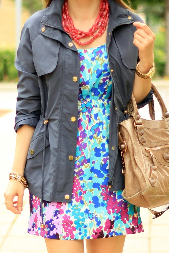 Autumn style - anorak with bright floral dress