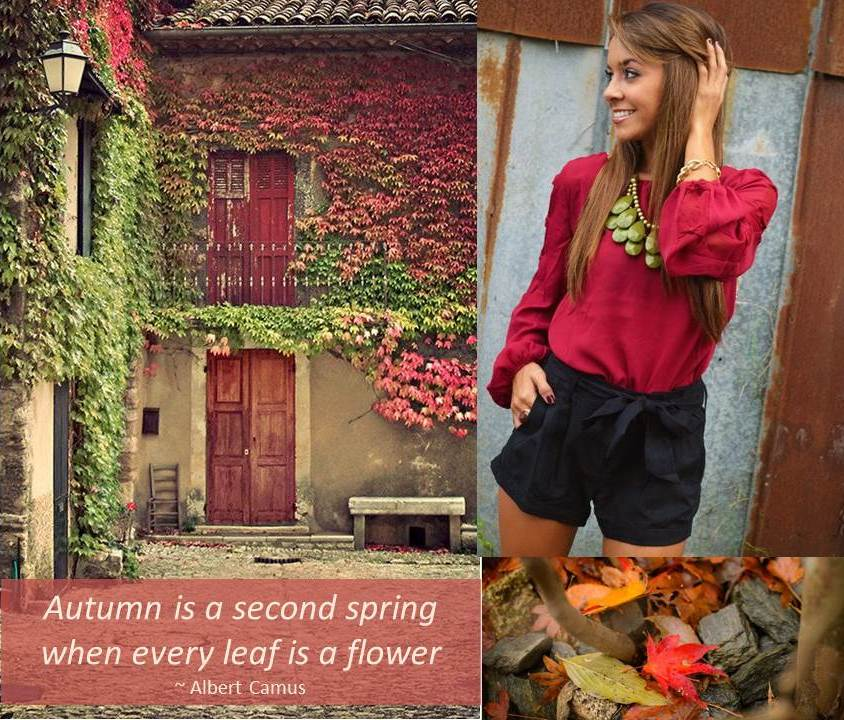 What to wear Autumn reds - Autumn is a second spring when every leaf is a flower