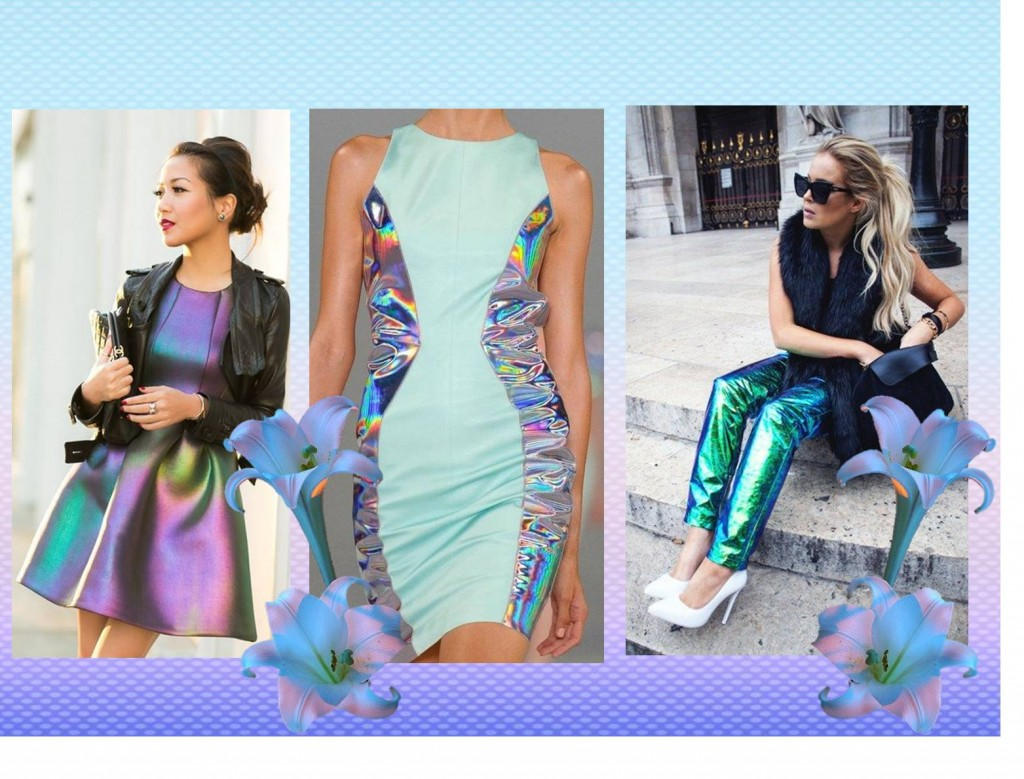 Funky, holographic and iridescent outfits
