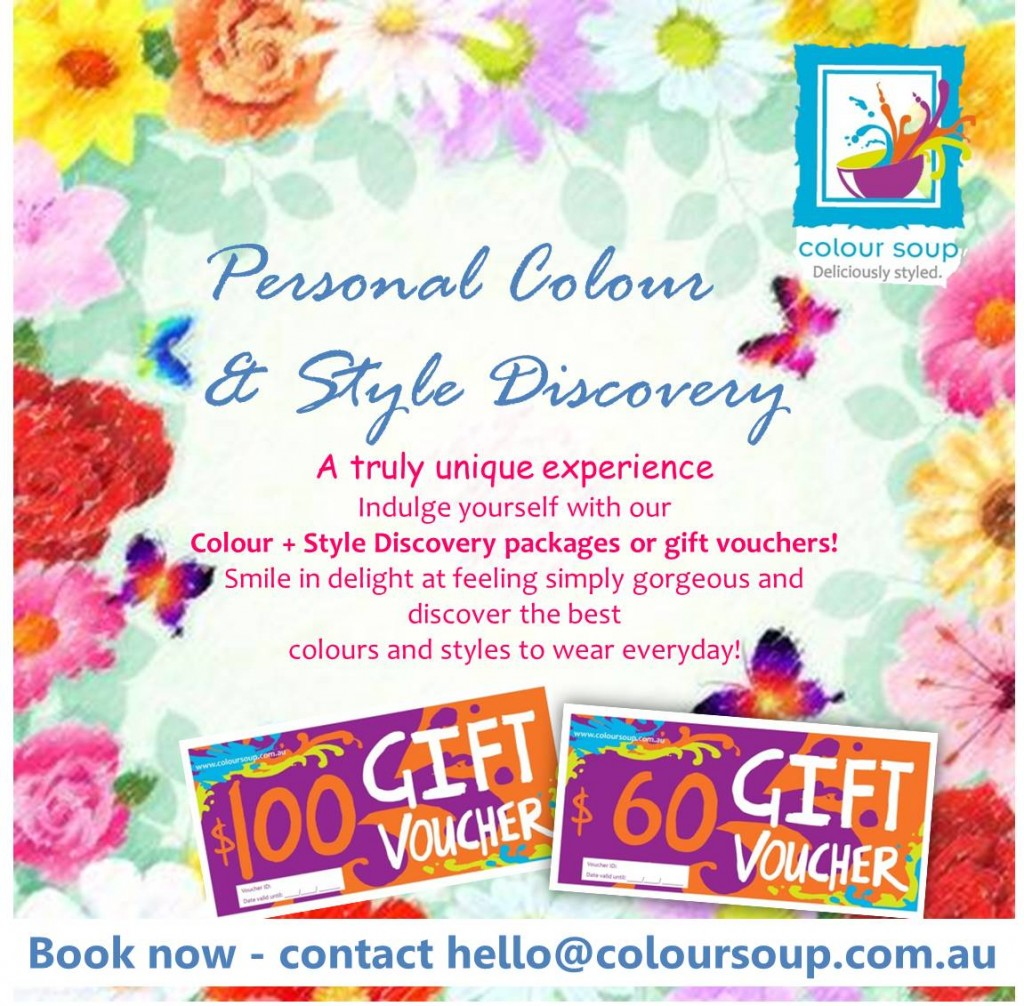 Feel gorgeous with  our Personal Colour + Style Discovery packages or gift vouchers!